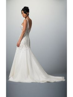 V-Neck Tulle Mermaid Wedding Dress with Applique Beading