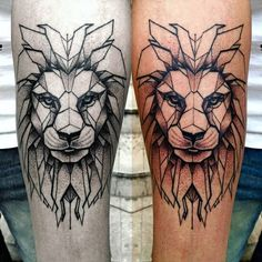 Lion geometric tattoo