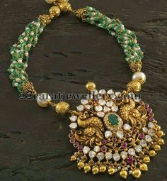 Jewellery Designs: Peacock Pendant with Semi Precious Beads