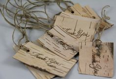 Birch bark gift tags with Thank You hand stamped by Rusticblend, via Etsy.