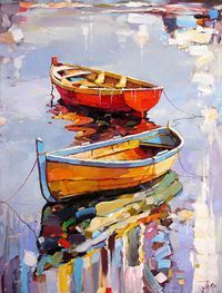 What is Your Painting Style? How do you find your own painting style? What is your painting style? Boat Painting, Oil Paintings, Painting & Drawing, Landscape Paintings, Landscape Art, Paintings Famous, Famous Art, Nature Paintings, Knife Painting