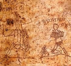Graffiti from Pompeii depicting some of the well-known gladiators at the time, M. Attilius and L. The Roman numerals next to their names indicate the number of wins they had recorded. Pompeii Italy, Pompeii And Herculaneum, Ancient Rome, Ancient History, Ancient Ruins, Banksy, Fresco, World History Facts, Ancient Olympics