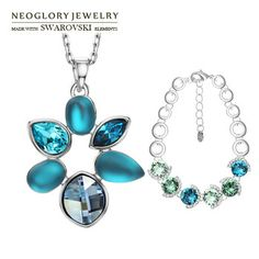 Neoglory MADE WITH SWAROVSKI ELEMENTS Rhinestonel Crystal Bracelet & Necklace Jewelry Set for Women   for Christmas 2014