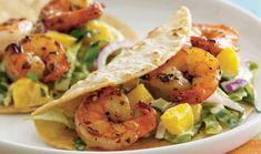 Beach-Shack Shrimp Tacos with Cucumber Salad Key Ingredient Recipes Best Shrimp Recipes, Fish Recipes, Seafood Recipes, Mexican Food Recipes, Salad Recipes, Dinner Recipes, Cooking Recipes, Healthy Recipes, Healthy Meals