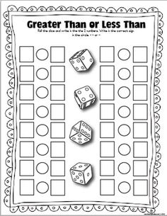 The Lesson Plan Diva: FREE Dice Games Greater Than or Less Than- could use with fractions- 2 die bigger number as denominator Math Worksheets, Math Resources, Math Activities, Printable Math Games, Early Finishers Activities, Addition Worksheets, Therapy Activities, Free Printables, Classroom Freebies