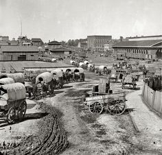 Wagon train moving out of Atlanta, Georgia (circa 1864). Amazing how different it was...