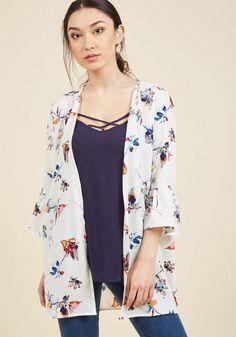 AdoreWe - ModCloth Maximizing Mindfulness Floral Kimono in White in XL - AdoreWe.com
