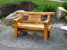 Wooden Bench Ideas Outdoor Stylish and Practical Outdoor Furniture Bench Ideas Wooden Bench Ideas Outdoor. Rustic Outdoor Benches, Outdoor Furniture Bench, Rustic Chair, Log Furniture, Garden Furniture, Cheap Furniture, Furniture Design, Timber Bench Seat, Pallet Bench
