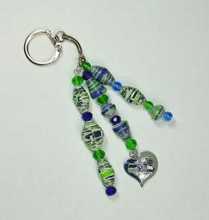 Key Chain Car Jewelry Paper Beads Handmade by ThePaperBeadBoutique