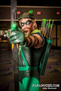 Green Arrow.  I love the Mike Grell signature on the quiver.  Grell is best known as the artist for the Green Arrow comic.