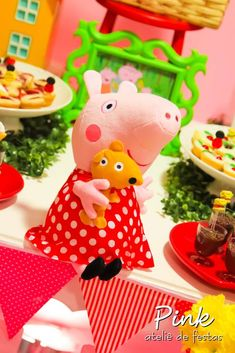 Decorations at a Peppa Pig birthday party!  See more party planning ideas at CatchMyParty.com!