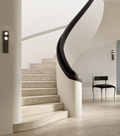[New] The 10 Best Home Decor (with Pictures) - Very elegant work by Mark Hunter! Composition and lighting on their best. Staircase Architecture, Staircase Handrail, Interior Staircase, Curved Staircase, Modern Staircase, Staircase Design, Architecture Design, Staircases, Bauhaus