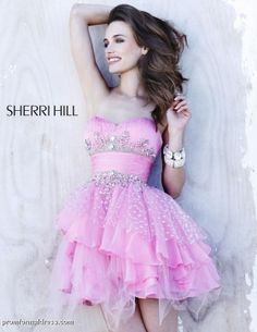 A-line Mini-length Sweetheart Dress Pink Sherri Hill Shorts 1046 Sequins Applique Belt