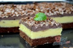Ingredients for the dough: 5 eggs 3 tablespoons sugar 2 tablespoons oil 2 tablespoons hot water 5 tablespoons flour . Healthy Deserts, Healthy Dessert Recipes, Cake Recipes, Czech Desserts, No Cook Desserts, Czech Recipes, Sweet Cakes, Food Cakes, Chocolate Desserts