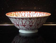 Emma Bridgewater Studio Special Pink Hearts LOVE Footed Serving Bowl for Collectors Day