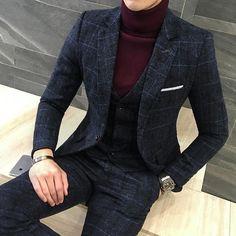 90ecf425cc15e9 3 Piece Men s Plaid Suits Coat Pants Vest Slim Fit Men s Suits