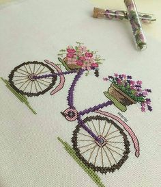 This Pin was discovered by Ayş Tiny Cross Stitch, Cross Stitch Heart, Cross Stitch Borders, Cross Stitch Samplers, Modern Cross Stitch Patterns, Cross Stitch Flowers, Cross Stitch Designs, Cross Stitching, Cross Stitch Embroidery