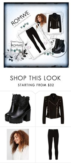 """""""ROMWE"""" by sabahetasaric ❤ liked on Polyvore featuring Balmain, Violeta by Mango and Frame"""