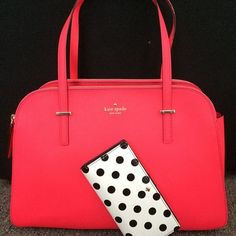 that color! Kate Spade coral pink red bag and white with black polka dot wallet kate spade handbag