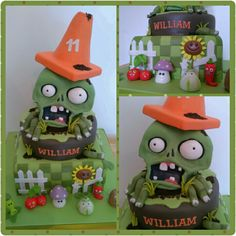 N/A Zombie Birthday Parties, Kids Birthday Themes, Zombie Party, 8th Birthday, Plantas Versus Zombies, Zombie Crafts, Bolo Halloween, Video Game Cakes, Pumpkin Decorating Contest