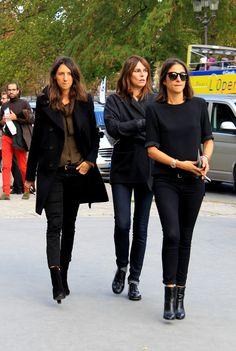 Géraldine Saglio, Capucine Safyurtlu & Claire Dhelens at Cacharel.    Can I have Géraldine's coat, please?!