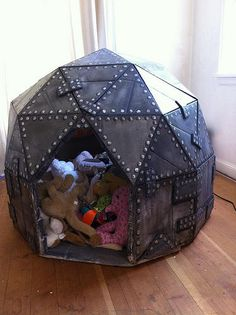 Cardboard Play Dome - what to do with all the leftover cardboard and some hot glue... Love it!