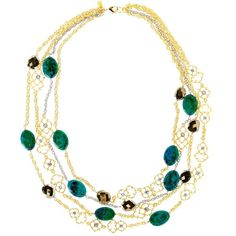 Alexis Bittar Spur Lace Multi Strand Station Necklace ($139) ❤ liked on Polyvore featuring jewelry, necklaces, alexis bittar necklace, filigree jewelry, bead chain necklace, multi strand necklace and two tone chain necklace