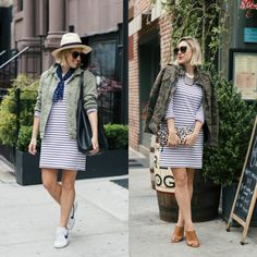 Outfit Remix: French Connection Striped Dress, Two Ways