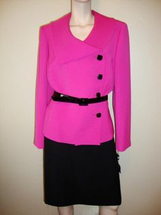 TAHARI Hyper Pink & Black Beltede Women's Skirt Suit Size 16 With tags #Tahari #SkirtSuit
