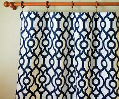 "Pair 50"" wide Premier Print Lyon Navy rod pocket panels drapes curtain 50x63 50x84 50x96 50x108"" black pink grey yellow orange blue green"