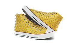 Studded Converse on ETSY  http://www.etsy.com/shop/customduo    love the colour