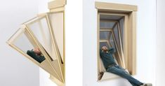 "Innovative ""More Sky"" Windows Transform into Outdoor Seating for Small Apartments - My Modern Met Sky E, Interior Architecture, Interior Design, Window Frames, Deco Design, Window Design, Outdoor Seating, Small Apartments, Furniture Design"