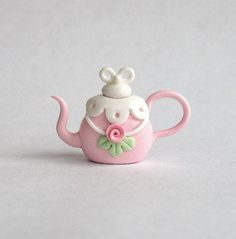 Miniature Chantilly Shabby Rose Teapot OOAK by by ArtisticSpirit