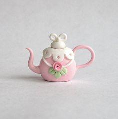 Miniature Chantilly Shabby Rose Teapot OOAK by by ArtisticSpirit