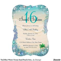 Teal Blue Water Ocean Sand Pearls Sweet 16 Party 5x7 Paper Invitation Card