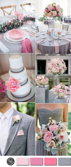 sweet pink and grey country wedding color inspiration