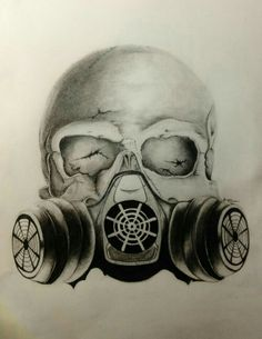 Skull with gas mask tattoo design