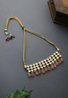 Kundan Jewellery Set, Fancy Jewellery, Beaded Jewelry, Beaded Necklaces, Gold Jewelry, Jewelery, Bridal Jewelry Vintage, Baby Jewelry, Gold Choker Necklace