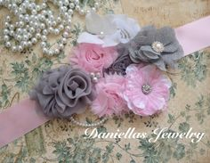 Maternity sash/Belly Bouquet /its a girl/photography prop/baby pink and silver