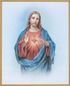 x Full Color) This is a beautiful framed print of Sacred Heart of Jesus. It comes in a thin gold frame with crystal clear lamination. This print is ready for wall hanging, and comes gift boxed. Overall size with Frame 8 x 10 gift boxed Sacred Heart Pictures, Jesus Christ Statue, Father Images, Jesus E Maria, Pictures Of Jesus Christ, Heart Poster, Christian Friends, Holy Quotes, Heart Of Jesus