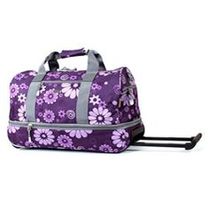 @Overstock - J World Purple Flowers 22-inch Expandable Carry On Rolling Upright Duffel Bag - Travel in style with this purple floral 22-inch rolling carry-on/duffel bag. This expandable bag can hold a surprising amount of luggage. With padded handles and adjustable straps, it acts as a comfortable carry-on. Inline wheels also support rolling.  http://www.overstock.com/Luggage-Bags/J-World-Purple-Flowers-22-inch-Expandable-Carry-On-Rolling-Upright-Duffel-Bag/4419337/product.html?CID=214117…