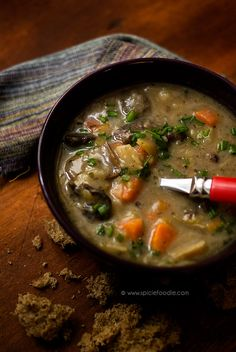 Czech Potato Soup (vegan) with dried mushrooms, leeks, celeriac, cabbage ...