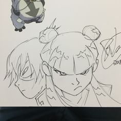 Drawing in some books. This activity gives me great anxiety so I think I'll be starting with pencil from now on like I did here. I signed with @kohquette in October and at a big dinner table full of First Second artists in November and it was humbling to say the least... ☠️  #avatarthelastairbender #mai #zuko #toph #aang #sokka #katara #korra #thelegendofkorra