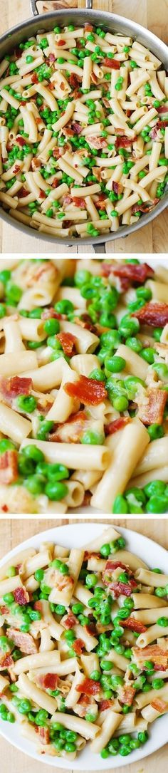 One-pot pasta with bacon and peas: so easy, made with just a few basic ingredients, and the clean-up is minimal! Everything is cooked in one pot: bacon, frozen peas, simple homemade Alfredo sauce, and even pasta (cooked in chicken broth)! #BHG #sponsored