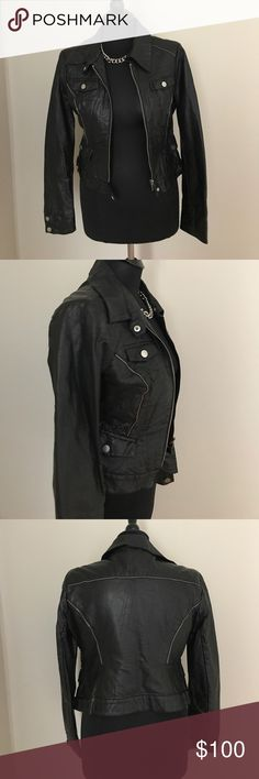 Bebe Faux Leather Jacket NWOT Bebe new without tags faux leather biker style jacket. Silver detail and trim. bebe Jackets & Coats