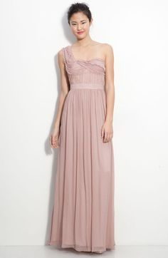 Adrianna Papell Ruched Chiffon One Shoulder Gown available at #Nordstrom