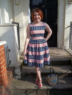 'Stay The Course' dress - Simplicity 2444 with a gathered skirt, made from Michael Miller 'Stay The Course' fabric.