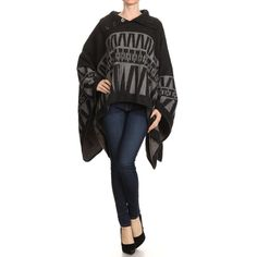Womens Geometric Pullover Fall Winter Poncho