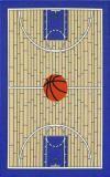 Sports Rugs-Basketball Court Rug (medium blue border color)