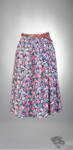 Vintage 90´s midi Floral Grunge Gathered Skirt
